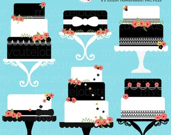 Black and White Cakes Clipart Set - clip art set of cakes, wedding cakes, floral cake - personal use, small commercial use, instant download