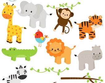 Safari Animals Clipart Set - clip art set of giraffe, tiger, monkey, hippo, crocodile - personal use, small commercial use, instant download
