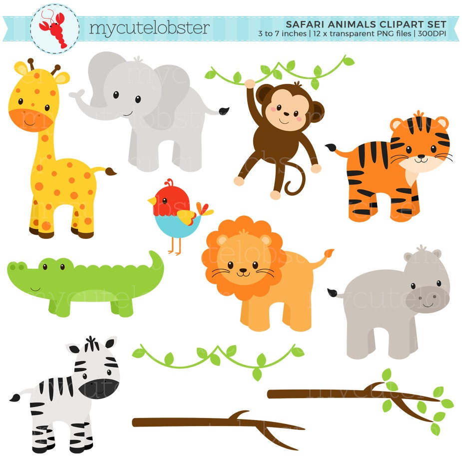 Safari Animals Clipart Set clip art set of giraffe tiger ...