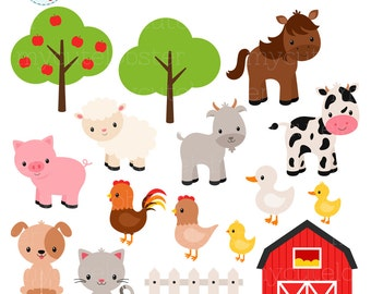 Farm Animals Clipart Set - farm, barn, farmyard animals, sheep, cow, horse, chicken - personal use, small commercial use, instant download