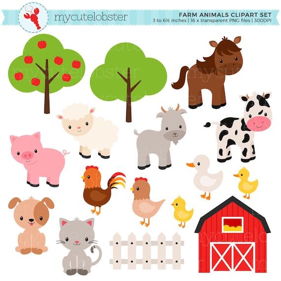 farm animals clipart set farm barn farmyard animals etsy rh etsy com farm animal clipart for kids farm animal clipart for teachers