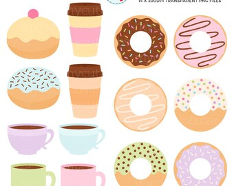 Pastel Donuts and Coffee Clipart Set - donuts, doughnuts, coffee, mugs, cups, food - personal use, small commercial use, instant download