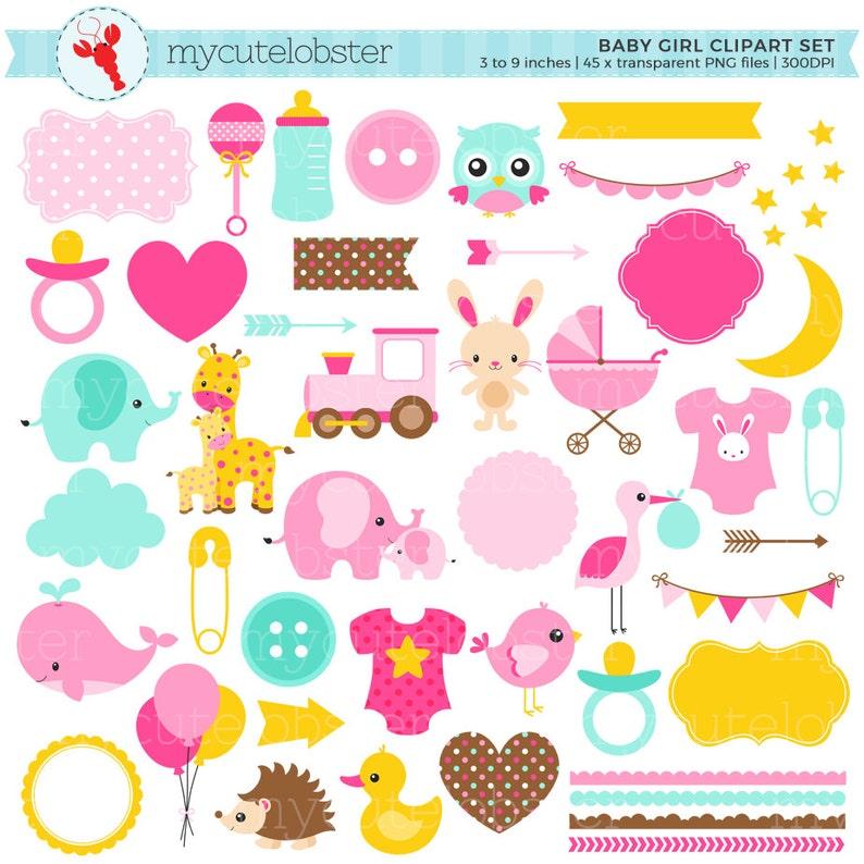 cd6ccfeb0e1a Baby Girl Clipart Set digital elements borders bunting