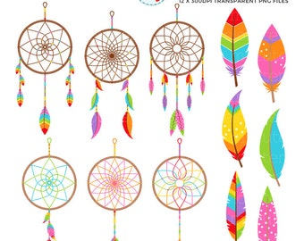 Rainbow Dreamcatchers Clipart Set - clip art set of dreamcatchers, feathers, tribal - personal use, small commercial use, instant download