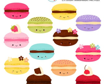 Happy Macarons Clipart Set - cute macarons, kawaii macarons clip art set, macarons - personal use, small commercial use, instant download