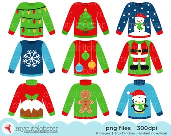 Christmas Sweaters Clipart Set - fun festive sweaters, ugly Christmas jumpers - Instant Download, Personal Use, Small Commercial Use