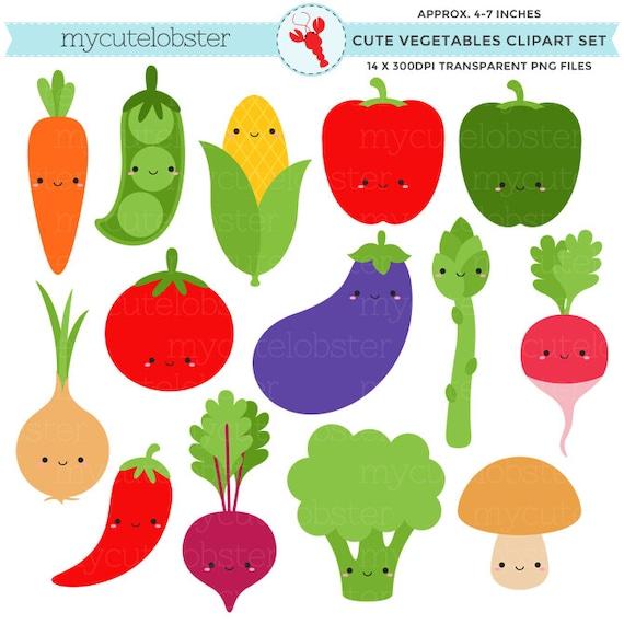 Cute Vegetables Clipart Set Clip Art Set Of Carrot Peas Etsy