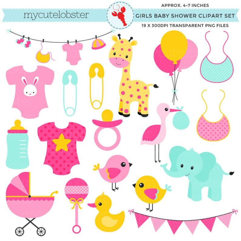 fe48ae8a8778 Girl s Baby Shower Clipart Set clip art set bibs