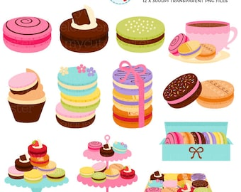 Sweet Macarons Clipart Set - clip art set of macarons, macaroons, french pastry - personal use, small commercial use, instant download