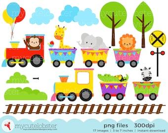 Safari Animals Train Clipart Set - clip art of animals, train, baby animal, safari - personal use, small commercial use, instant download
