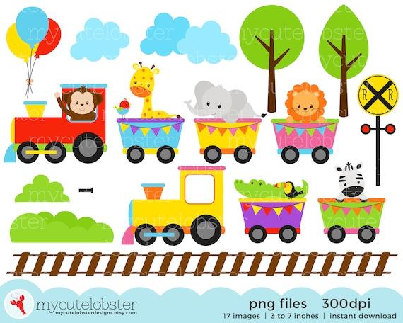 Animal Train Clipart Set Clip Art Set Of Animals Train Etsy