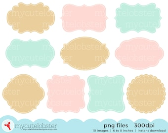 Frames Clipart Set - gold, pink, mint - digital frames clip art set, tags, labels - personal use, small commercial use, instant download