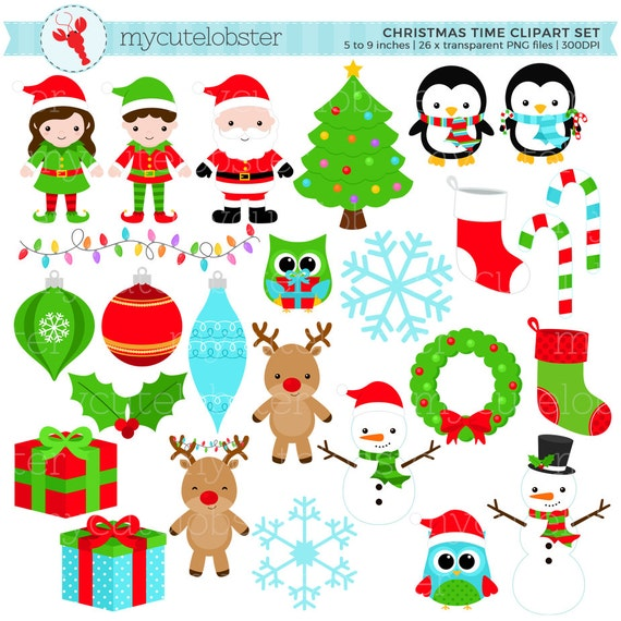 Christmas Holiday Clipart.Christmas Holiday Clipart Set Clip Art Set Of Christmas Time Items Tree Stocking Personal Use Small Commercial Use Instant Download