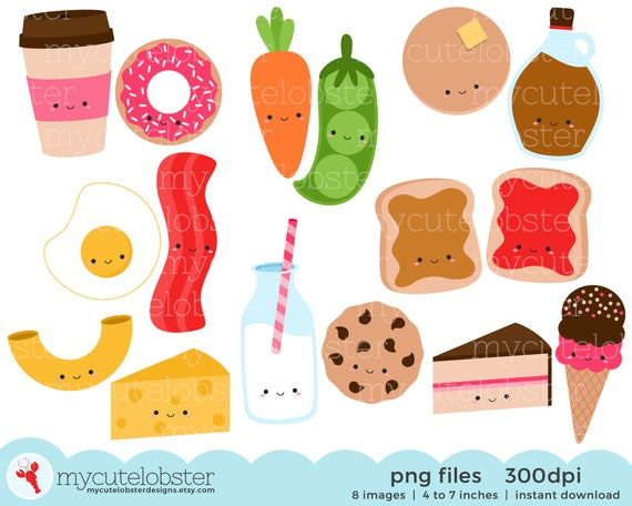 instant download cookies peas milk toast personal use small commercial use Perfect Match Foods Clipart Set friendship clip art set