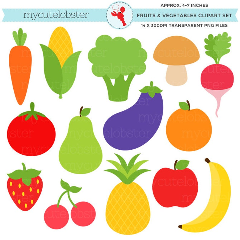 Fruits Vegetables Clipart Set Clip Art Set Of Pineapple Etsy
