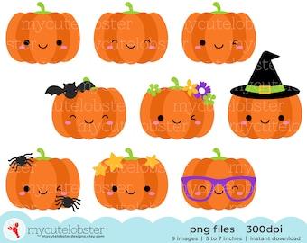 Cute Halloween Pumpkins Clipart - pumpkin clip art, halloween clip art, fun pumpkins - Instant Download, Personal Use, Small Commercial Use