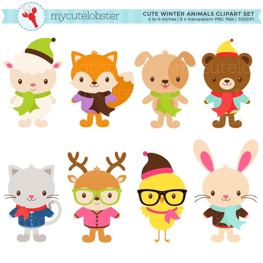 Cute Winter Animals Clipart Set hipster animals clip art ...