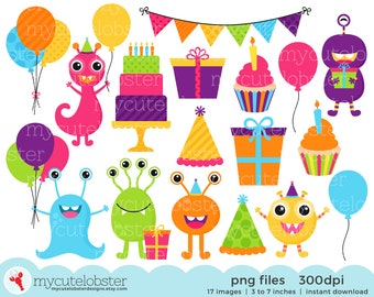 Monster Birthday Party Clipart Set - clip art set of monsters, party, cake, balloons - personal use, small commercial use, instant download