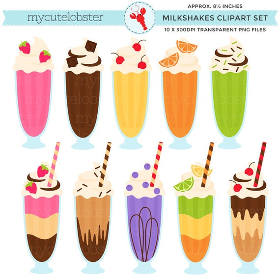 Milkshakes Clipart Clip Kunst Set Milchshakes Getränke | Etsy