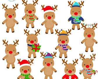 Reindeers Clipart Set - clip art set of reindeers, christmas, holiday reindeer - personal use, small commercial use, instant download