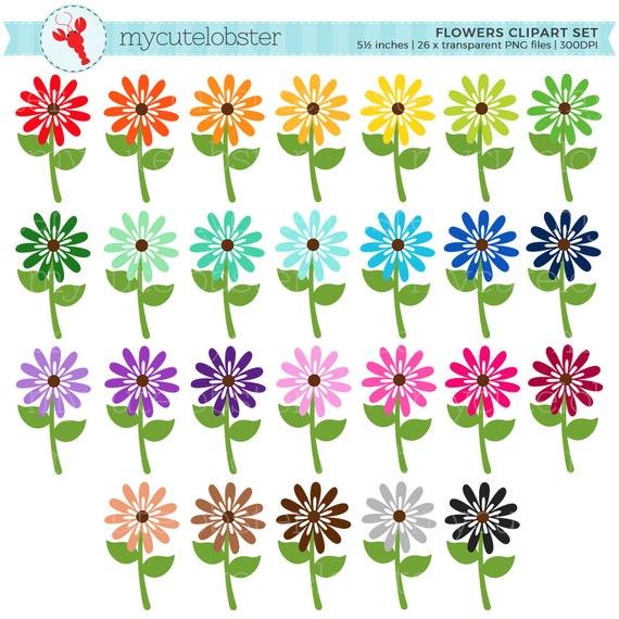 Rainbow flowers clipart set flower clip art spring flowers etsy image 0 mightylinksfo