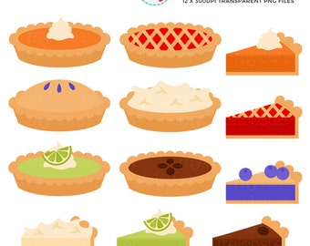 Pies Clipart Set - clip art set of pies, pumpkin, cherry, blueberry, pecan, lime, pie - personal use, small commercial use, instant download