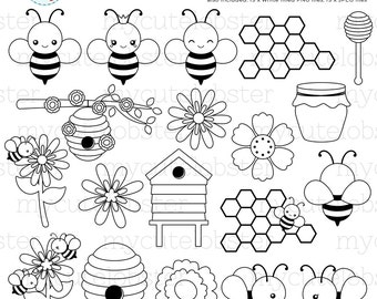 Bees Digital Stamps - bees line art, cute bees outlines, beehive, honeycomb, stamps - personal use, small commercial use, instant download