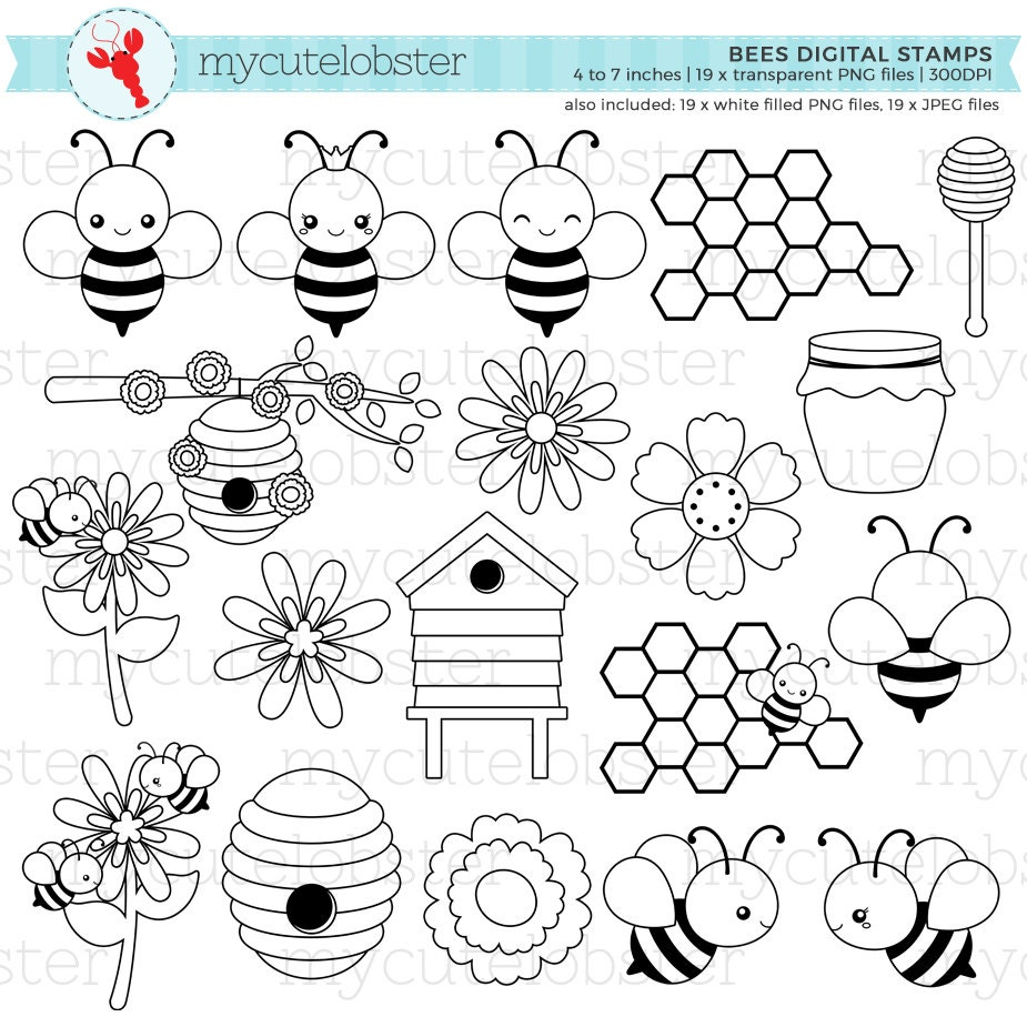 bees digital st s bees line art cute bees outlines etsy Bunch of Bees 50