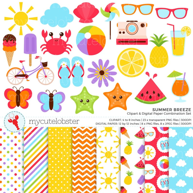 beach ball sun small commercial use personal use summer clip art set Summer Breeze Clipart /& Digital Paper Set instant download