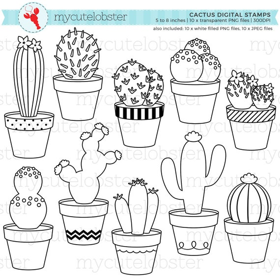 Cactus Digital Stamps Cactus Line Art Outlines Stamps Cacti Cactuses Personal Use Small Commercial Use Instant Download
