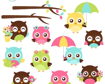 Spring Owls Clipart Set - cute owls, umbrella, flowers, spring, floral owls, clip art - personal use, small commercial use, instant download
