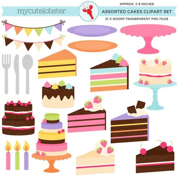 Bunte Kuchen Clipart Set Verschiedene Kuchen Tortenstücke Etsy