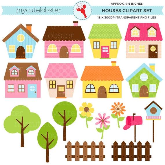 Little Houses Clipart Set house clip art set flowers | Etsy