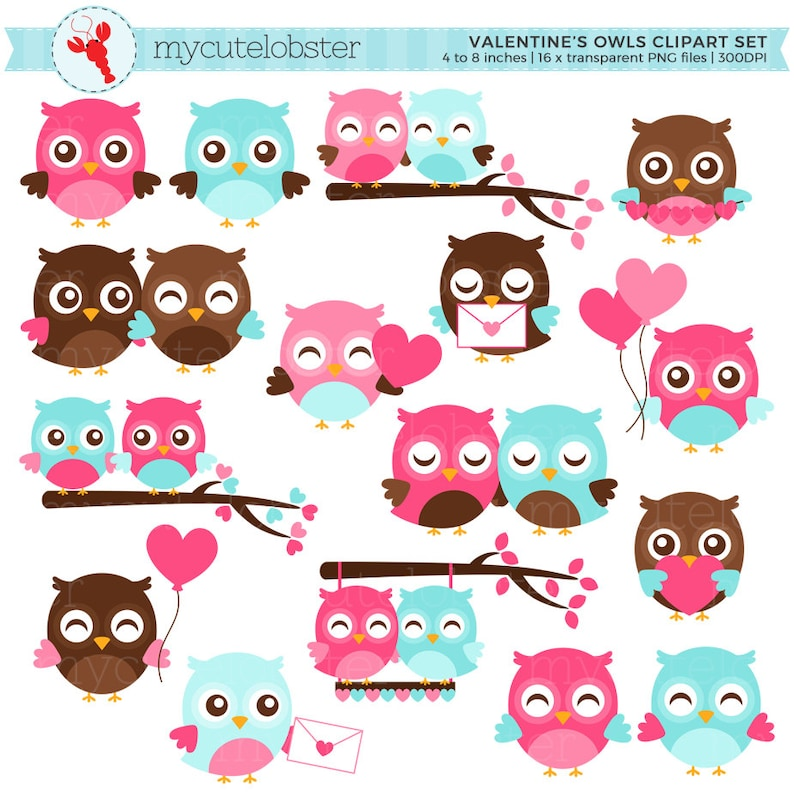 60ee8d67c03 Valentine s Owls Clipart Set cute owls owls in love