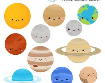 Cute Solar System Clipart Set - planets clip art, space, Earth, moon, Jupiter, Pluto - personal use, small commercial use, instant download