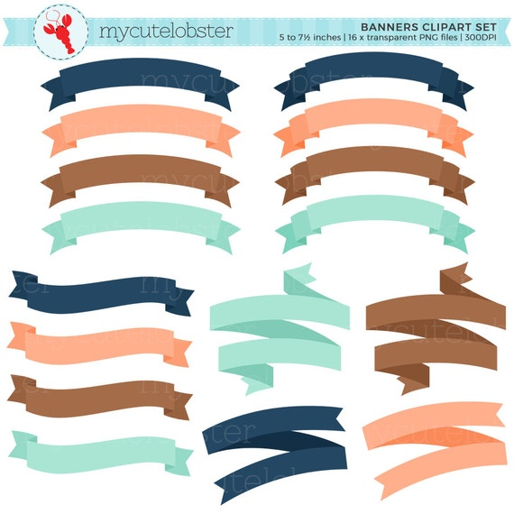 banner clipart set assorted banners clip art set frames etsy rh etsy com banner clip art images banner clipart word with self -control