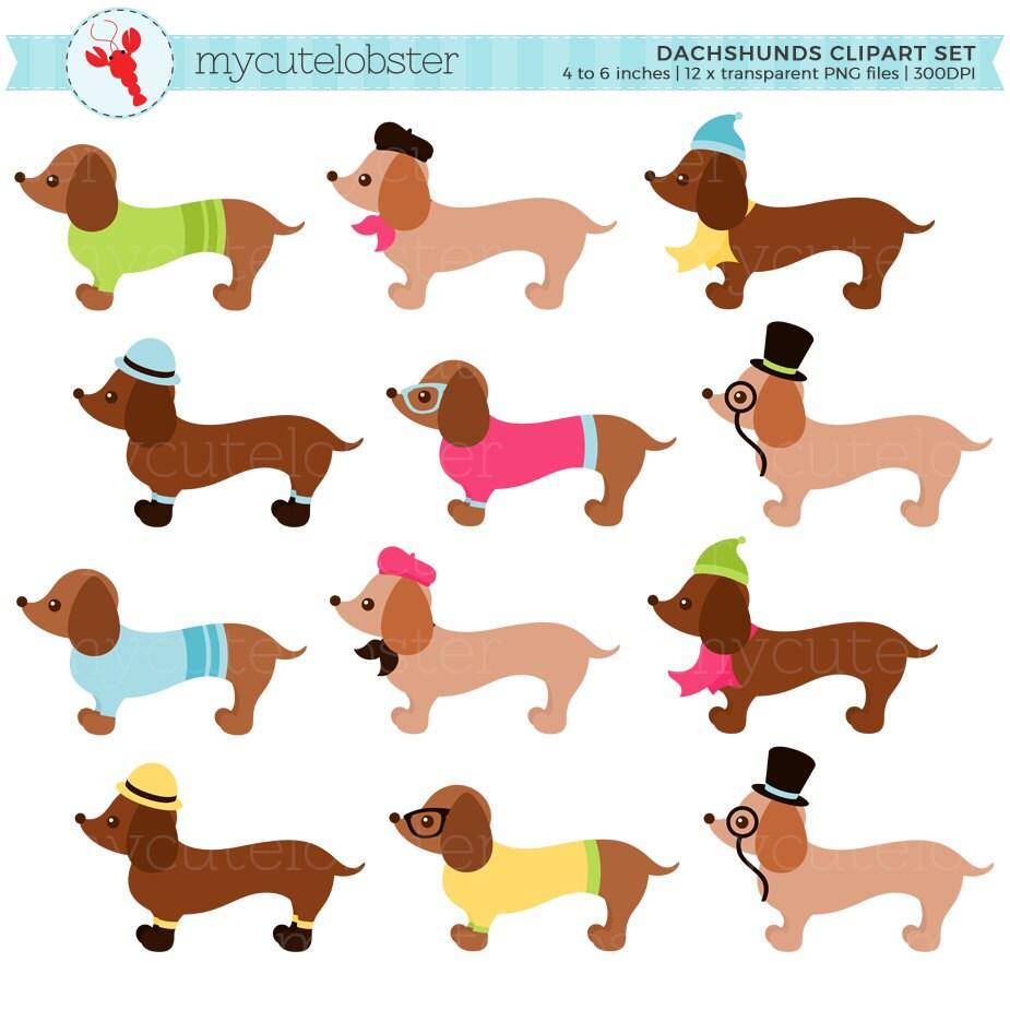 Conjunto de imágenes prediseñadas de Dachshunds perros | Etsy