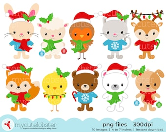 Christmas Animals Clipart Set - polar bear, robin, rabbit, deer, fox, cat and more - Instant Download, Personal Use, Small Commercial Use