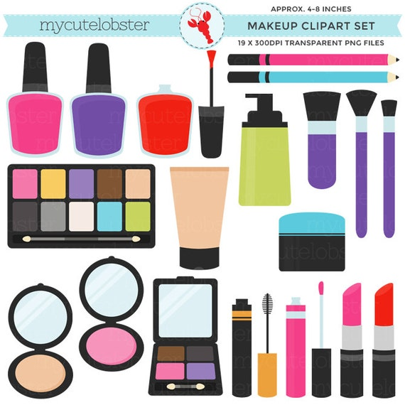 makeup clipart set clip art set of lipstick nail polish etsy rh etsy com makeup clip art cosmetics makeup clip art silhouette