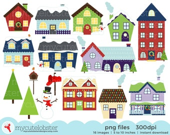 Winter Houses Clipart Set - clip art set of winter houses, christmas house, houses - personal use, small commercial use, instant download