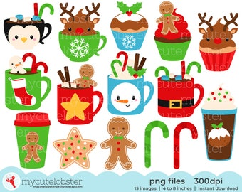 Christmas Mugs Clipart Set - festive mugs and treats clip art, gingerbread, cupcakes - Instant Download, Personal Use, Small Commercial Use