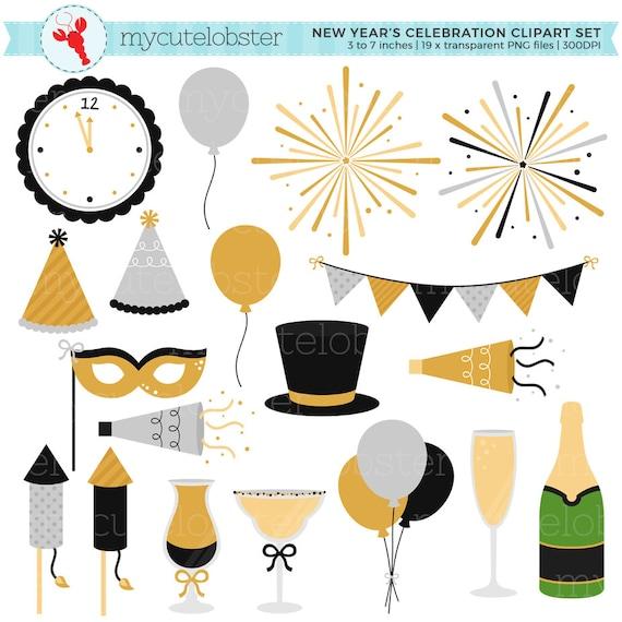 Silvester Feier Clipart Set Feuerwerk Girlanden Party