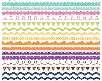 Borders Clipart Set - clip art set of assorted borders, scallop, ric rac, pennant - personal use, small commercial use, instant download
