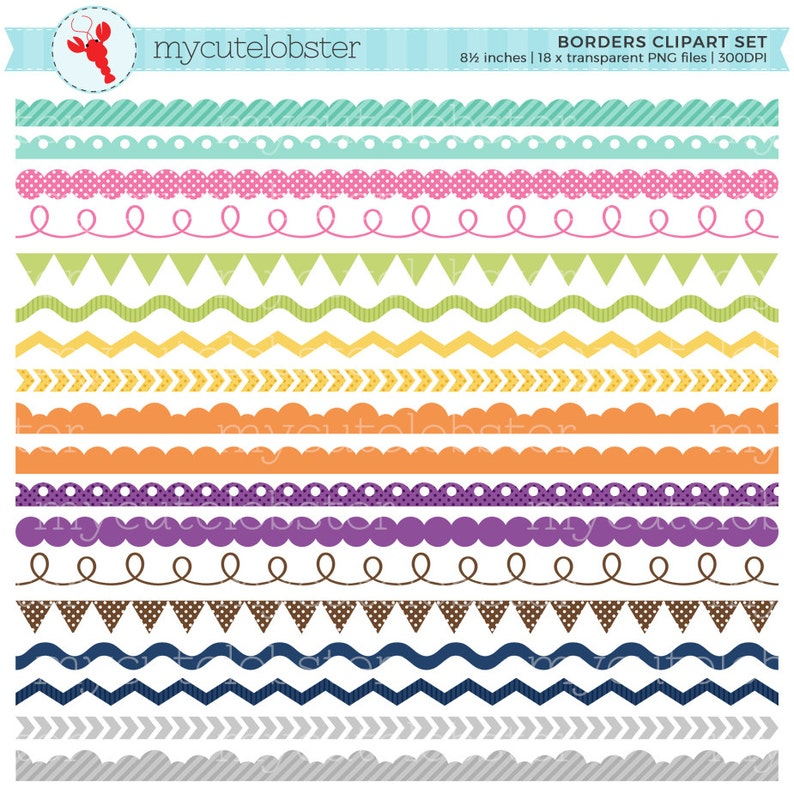 Borders Clipart Set pennant small commercial use ric rac clip art set of assorted borders personal use scallop instant download