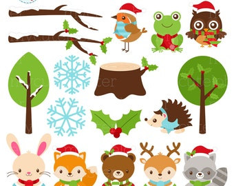 Festive Friends Clipart Set - winter animals, Christmas friends, santa hats, woodland - personal use, small commercial use, instant download