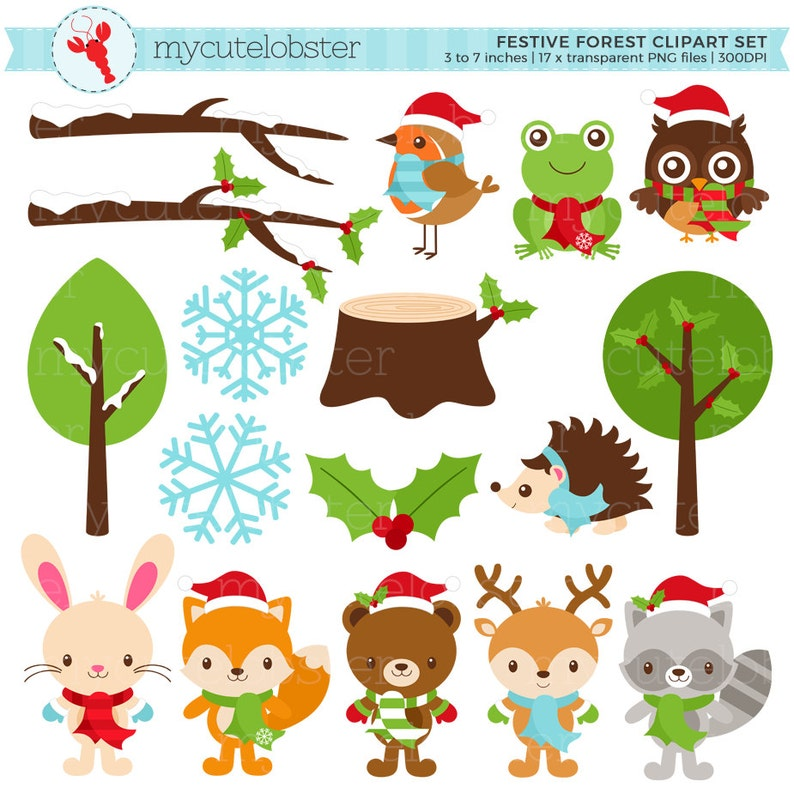 Festive Friends Clipart Set  winter animals Christmas image 0
