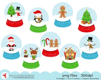 Christmas Snow Globes Clip art Set - festive snowglobe graphics - Instant Download, Personal Use, Small Commercial Use