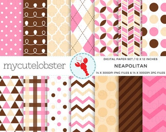 Neapolitan Digital Paper Set - pink, brown, yellow, patterned paper, polka, stripe - personal use, small commercial use, instant download