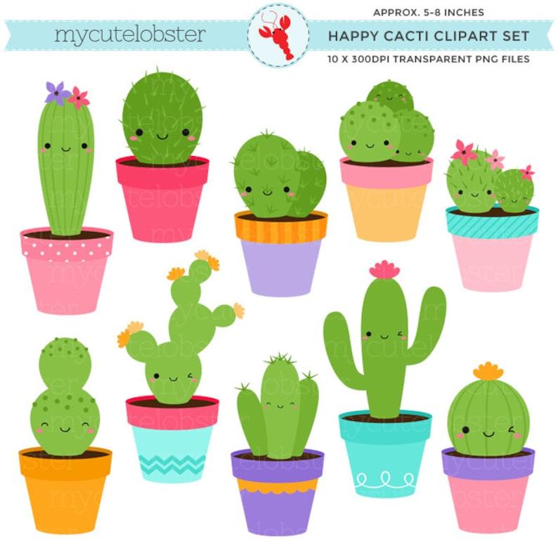 5488f48844e Happy Cactus Clipart Set cute cactus clip art set cacti