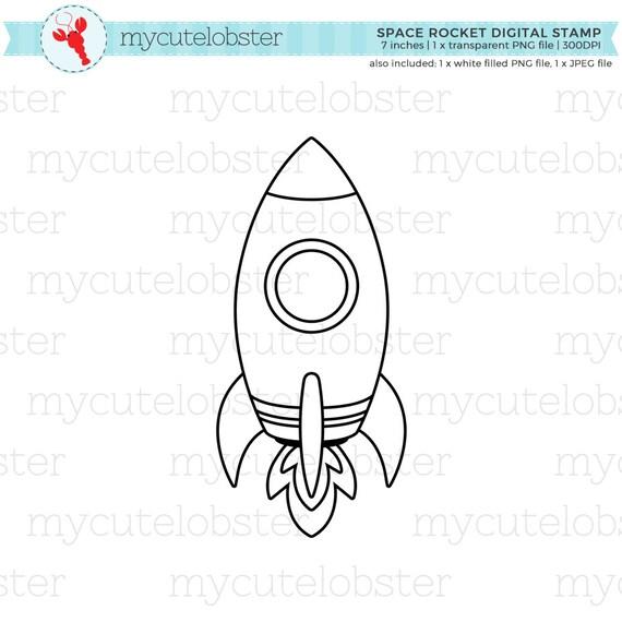 Espacio cohete Digital sello gráfico esquema de clip art | Etsy